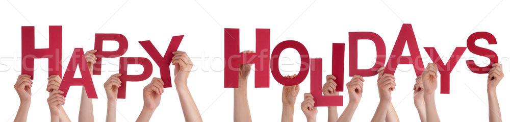 Foto stock: Pessoas · mãos · vermelho · palavra · feliz