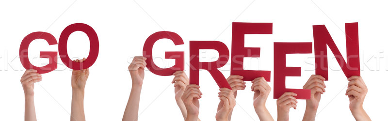 People Hands Holding Red Word Go Green Stock photo © Nelosa