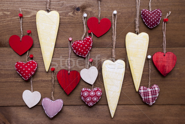 Yellow and Red Hearts For Valentines Daecoration Stock photo © Nelosa