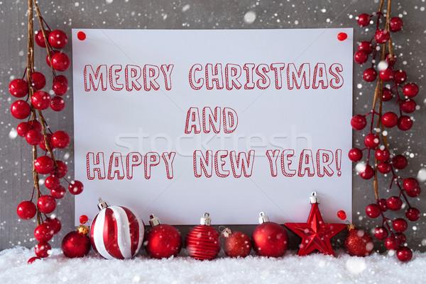 Etiket kar taneleri neşeli Noel happy new year Stok fotoğraf © Nelosa