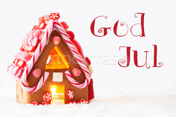 Gingerbread House, White Background, God Jul Means Merry Christmas Stock photo © Nelosa