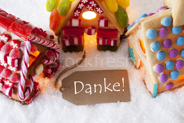 Colorful Gingerbread House, Snow, Danke Means Thank You Stock photo © Nelosa