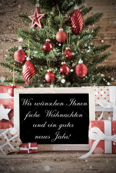 Boom nostalgisch tekst vrolijk christmas kaart Stockfoto © Nelosa