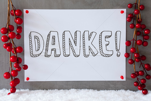 Label, Snow, Christmas Decoration, Danke Means Thank You Stock photo © Nelosa