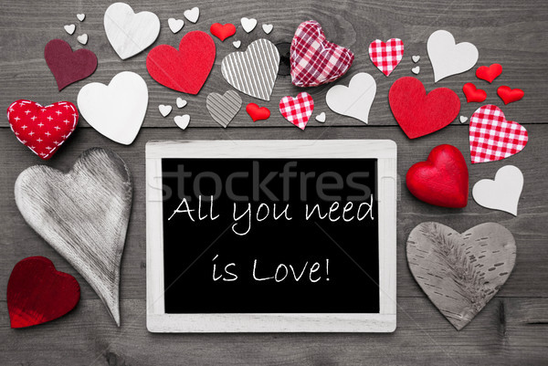 Chalkbord With Many Red Hearts, All You Need Is Love Stock photo © Nelosa