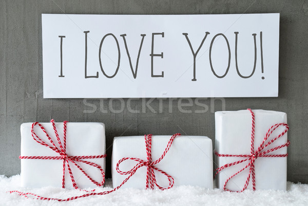 White Gift On Snow, Text I Love You stock photo © Nadja Blume ...