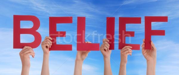 Mãos vermelho crença muitos pessoas Foto stock © Nelosa