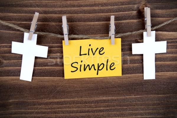 Yaşamak basit sarı etiket sözler hat Stok fotoğraf © Nelosa