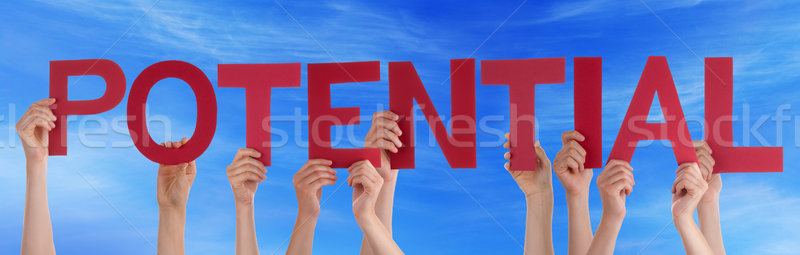 Hands Holding Red Straight Word Potential Blue Sky Stock photo © Nelosa