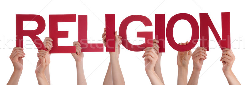 People Hands Holding Red Straight Word Religion Stock photo © Nelosa