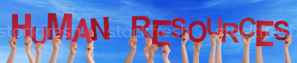 People Holding Red Word Human Resources Blue Sky Stock photo © Nelosa
