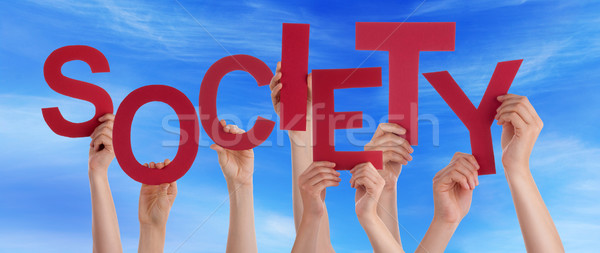 Many People Hands Holding Red Word Society Blue Sky Stock photo © Nelosa
