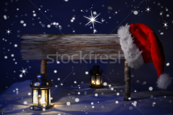 Christmas Sign Candlelight Santa Hat Copy Space Stock photo © Nelosa