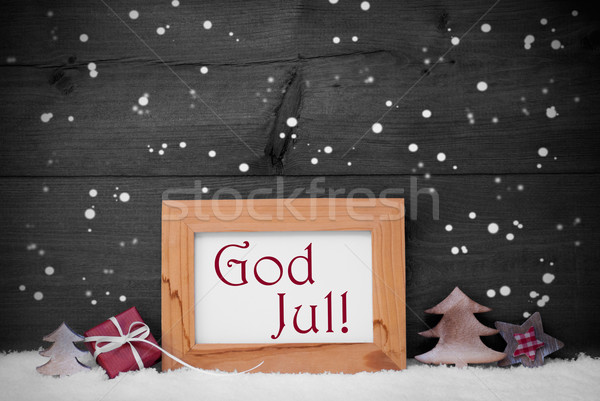 Gray Frame With God Jul Means Merry Christmas, Snow, Snowflakes Stock photo © Nelosa