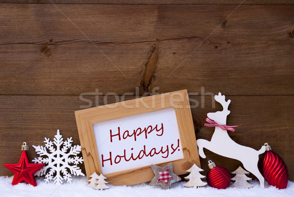 Red Christmas Card On Snow, Happy Holidays, Reindeer And Ball Stock photo © Nelosa