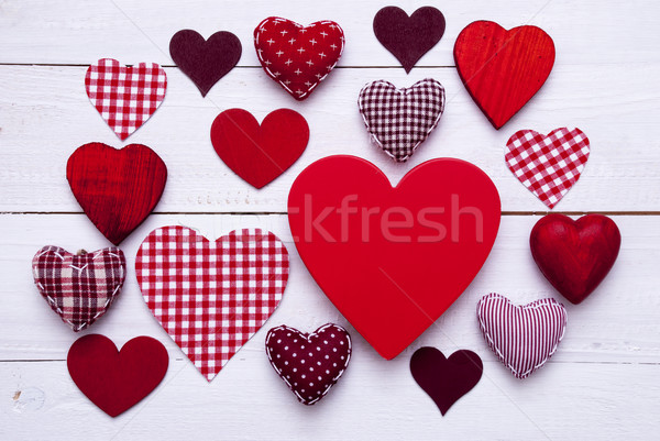Red Hearts Texture On White Wooden Background, Copy Space Stock photo © Nelosa