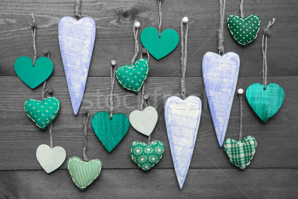 Turquoise Hearts For Valentines Daecoration, Black And White Image Stock photo © Nelosa