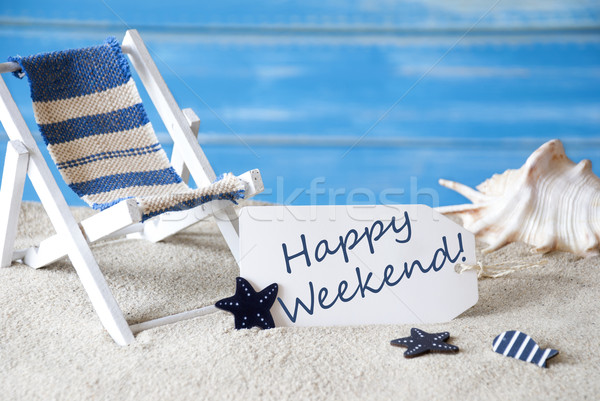 Summer Label With Deck Chair, Happy Weekend Stock photo © Nelosa
