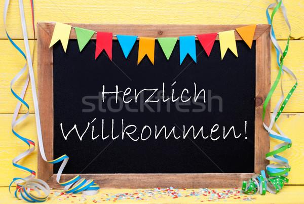 Stockfoto: Schoolbord · partij · decoratie · tekst · welkom · zoals