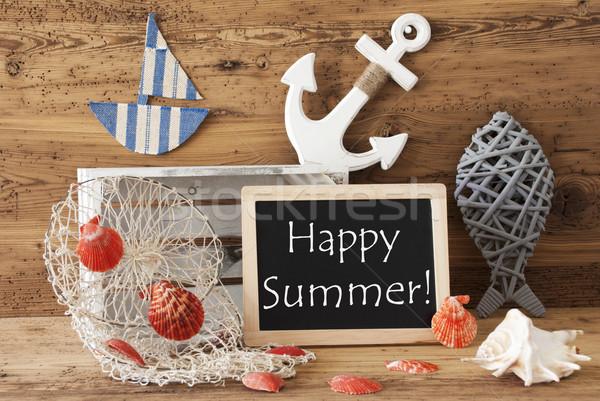 Chalkboard With Nautical Decoration, Text Happy Summer Stock photo © Nelosa