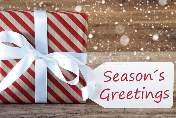 Present With Snowflakes, Text Seasons Greetings Stock photo © Nelosa
