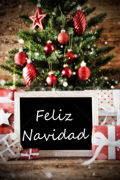 Tree With Feliz Navidad Means Merry Christmas Stock photo © Nelosa