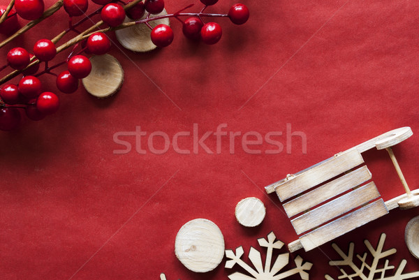 Christmas Decoration Like Sled On Red Wrapping Paper, Copy Space Stock photo © Nelosa