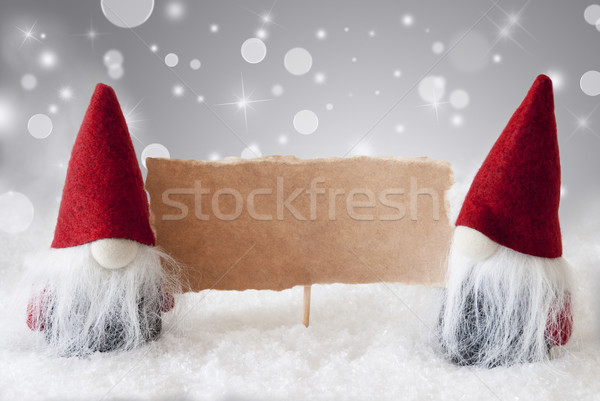 Red Gnomes With Card And Snow, Text Copy Space Stock photo © Nelosa