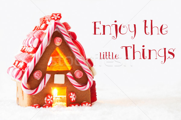 Gingerbread House, White Background, Quote Enjoy The Little Things Stock photo © Nelosa