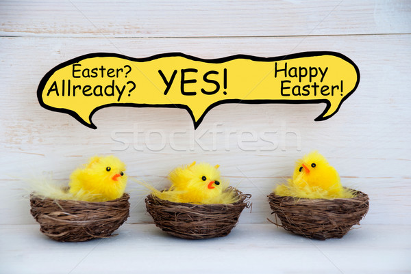 Three Chicks With Speech Balloon And Easter Joke Stock photo © Nelosa