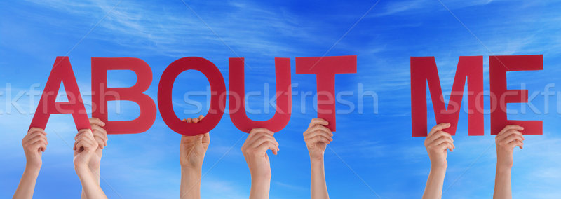 People Hands Holding Red Straight Word About Me Blue Sky Stock photo © Nelosa