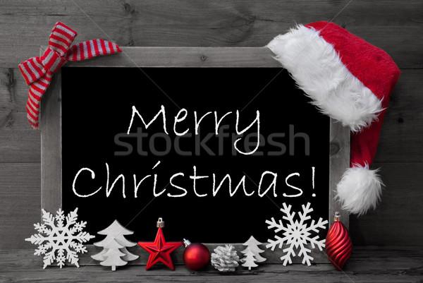 Tahta şapka neşeli Noel siyah beyaz Stok fotoğraf © Nelosa