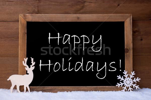 Christmas Card, Blackboard, Snow, Reindeer, Happy Holidays Stock photo © Nelosa