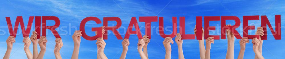 Emberek egyenes szó gratuláció sok kaukázusi Stock fotó © Nelosa