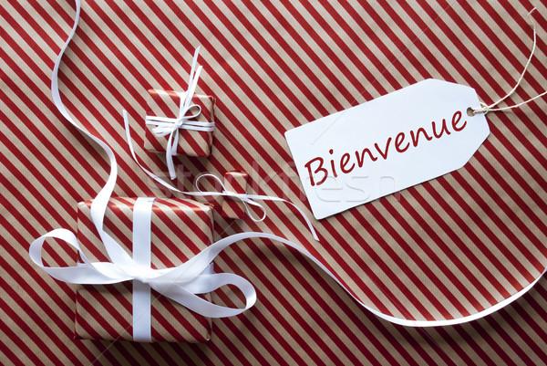 Сток-фото: два · подарки · Label · приветствую · представляет · белый