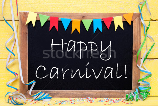 Chalkboard With Streamer, Text Happy Carnival Stock photo © Nelosa