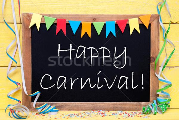 Stockfoto: Schoolbord · tekst · gelukkig · carnaval · Blackboard · Engels
