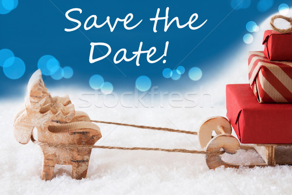 Reindeer With Sled, Blue Background, English Text Save The Date Stock photo © Nelosa