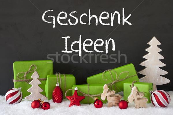 Christmas Decoration, Cement, Snow, Geschenk Ideen Means Gift Ideas Stock photo © Nelosa