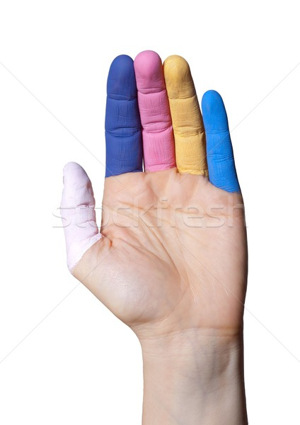 hand with painted fingers Stock photo © Nelosa