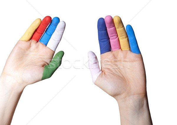 hands with painted fingers Stock photo © Nelosa
