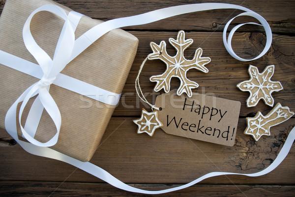 Feliz fin de semana invierno naturales etiqueta Foto stock © Nelosa