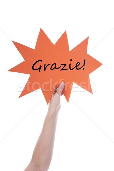 Narancs szöveglufi olasz kéz tart szövegbuborék Stock fotó © Nelosa