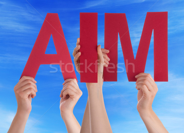 Many People Hands Holding Red Straight Word Aim Blue Sky Stock photo © Nelosa