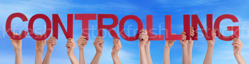 Many People Hands Holding Red Straight Word Controlling Blue Sky Stock photo © Nelosa