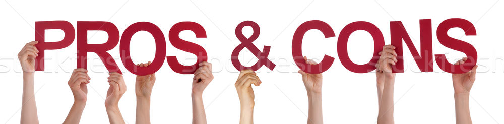 Hands Holding Red Straight Word Pros And Cons Stock photo © Nelosa