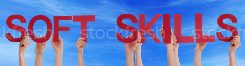 People Hold Red Straight Word Soft Skills Blue Sky Stock photo © Nelosa