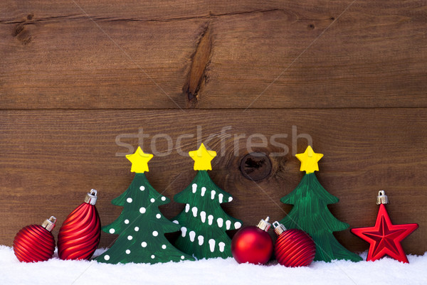 Christmas Card With Green Trees And Red Balls, Snow Stock photo © Nelosa