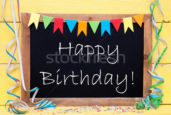 доске вечеринка украшение текста С Днем Рождения английский Сток-фото © Nelosa