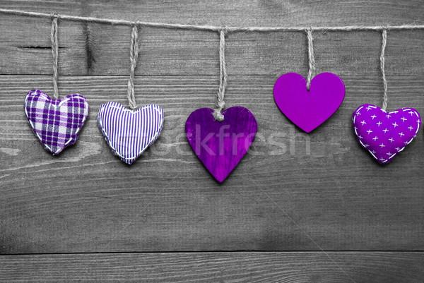 Loving Greeting Card With Purple Hearts Stock photo © Nelosa